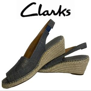 Clarks Blue Denim Slingback Espadrille Wedge